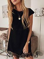 Черное короткое платье с кружевом А-силуэт