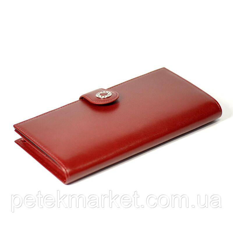 Классический портмоне Petek 441, Красный, 3+, 5+, Горизонтальное, Гладкая, Нет, Матовая, Под ровную купюру, Кожа