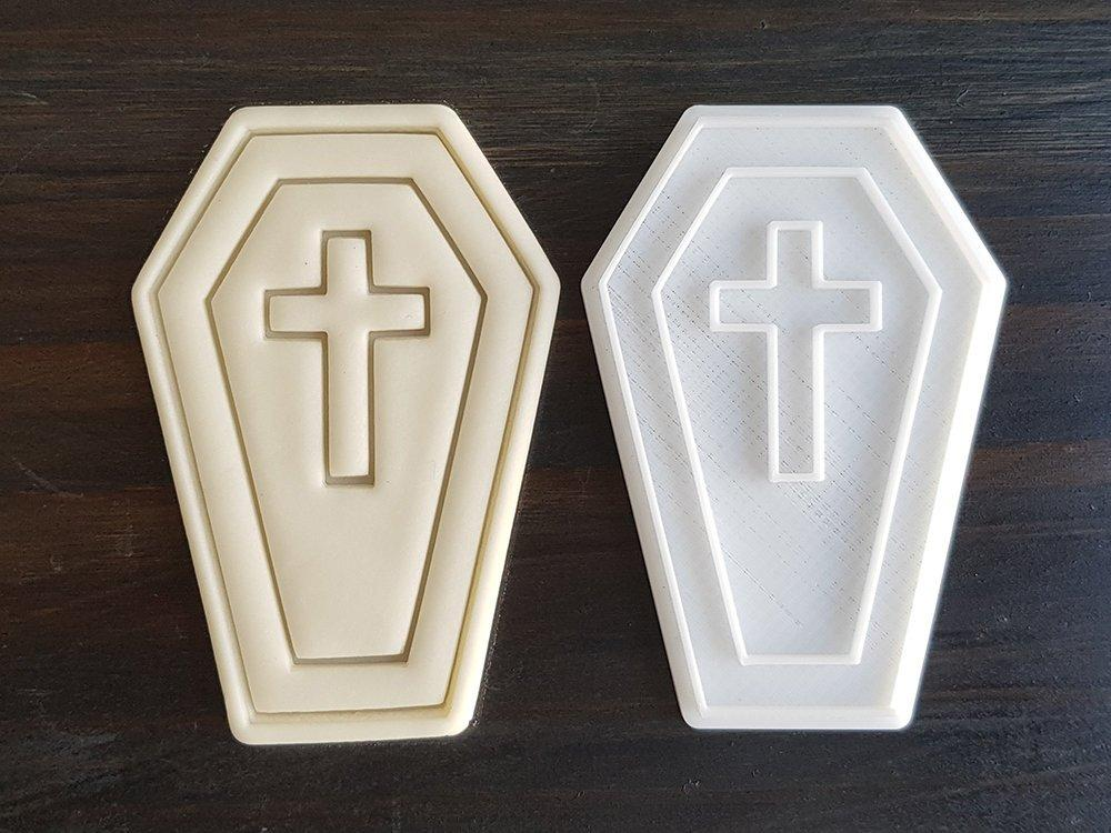 Формочка-вырубка для пряника + штамп НАбор хэллоуина №1 - Гроб