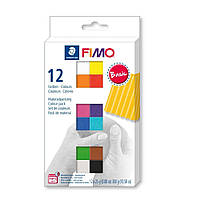 НОВИНКА! Набор полимерной глины для лепки Фимо Fimo Basic 12шт. по 25г, 8023 С12-1