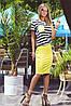 Стильный женский летний костюм из полосатой футболки с кармашком вискоза и юбки-карандаша микродайвинг