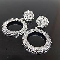 Сережки жіночі круглі в стилі Zara срібло (Vit-krug-silv)