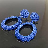 Сережки жіночі овальні в стилі Zara синій (Vit-oval-blue)