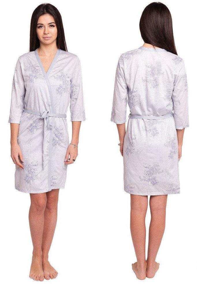 Домашній халат жіночий запах короткий трикотажний, блакитний