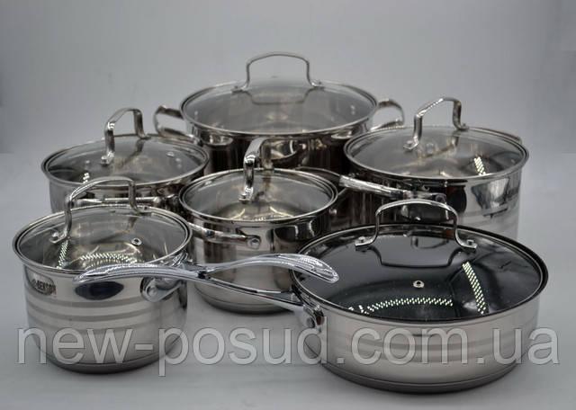 Набор посуды из нержавеющей стали 12 предметов Benson BN-204
