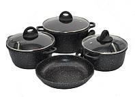 Набор посуды с мраморным покрытием 7 предметов Benson BN-313