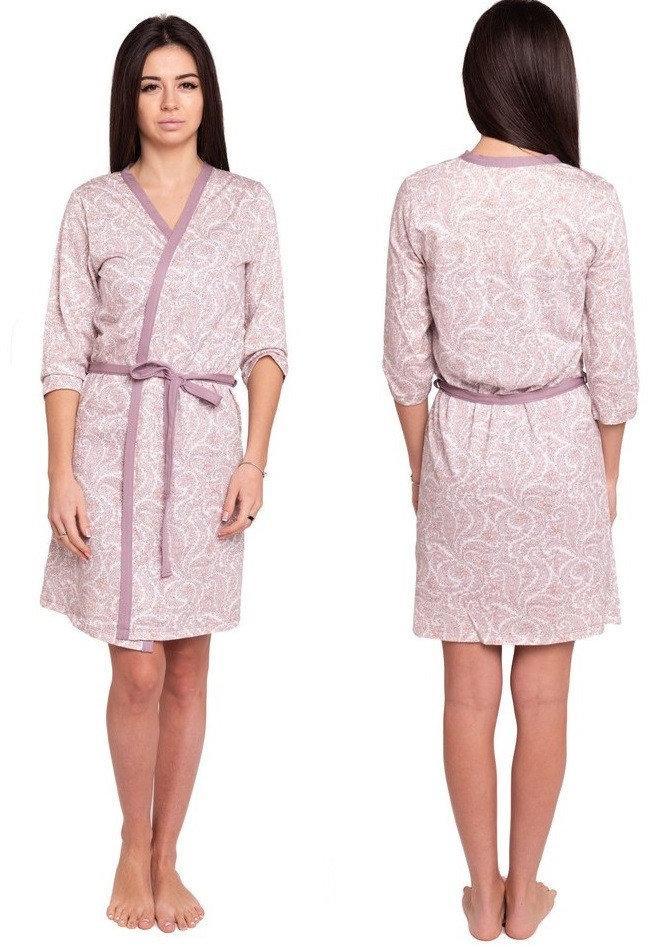 Трикотажный халат женский на запах короткий домашний, сиреневый