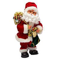 Новогодняя сувенирная фигурка Дед Мороз красный музыкальный, с сапогом с подарками, 36 см (230099)