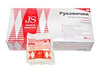 Перчатки JS латексные смотровые опудренные стерильные, р. L,M,S, пара