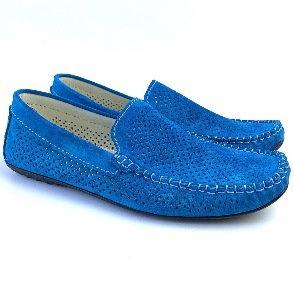 Летние мокасины замшевые с перфорацией бирюзовые мужская обувь большой размер Rosso Avangard Alberto Turq Perf
