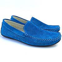 Летние мокасины замшевые с перфорацией бирюзовые мужская обувь большой размер Rosso Avangard Alberto Turq Perf, фото 1