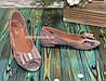 Женские кожаные босоножки на плоской подошве, цвет визон, фото 4