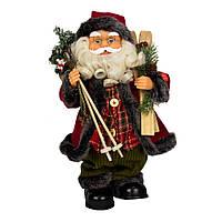 Дед Мороз в красной шубе с подарком и лыжами, музыкальный, интерактивный, 36 см, (230136)