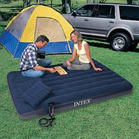 Двуспальный надувной матрас Intex 68765 + 2 подушки + насос (152см х203см х 22см)