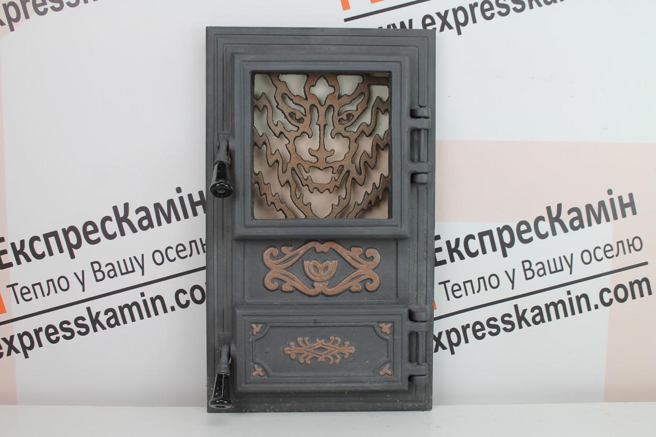 Дверцы печные со стеклом «WOOLF» 310х520