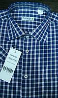 Летняя тениска производства Каштан темно-синяя в клетку