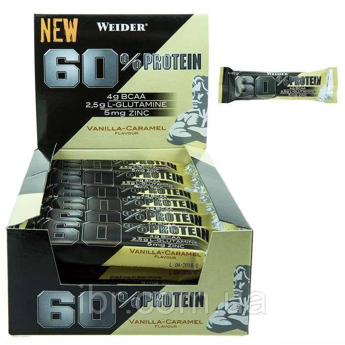 Протеиновый батончик WEIDER 60% Protein bar 45 g Vanilla-caramel 24 шт