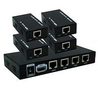 Четырехканальный HDMI сплиттер-удлинитель по UTP кабелю + 4 приемника HTS0104P
