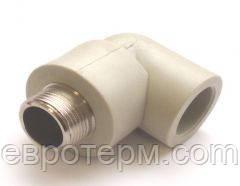 Колено (угол) с резьбой наружной  25*3/4 (КРН) для полипропиленовых труб