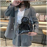 Женская летняя прозрачная сумка Messenger черная, фото 1