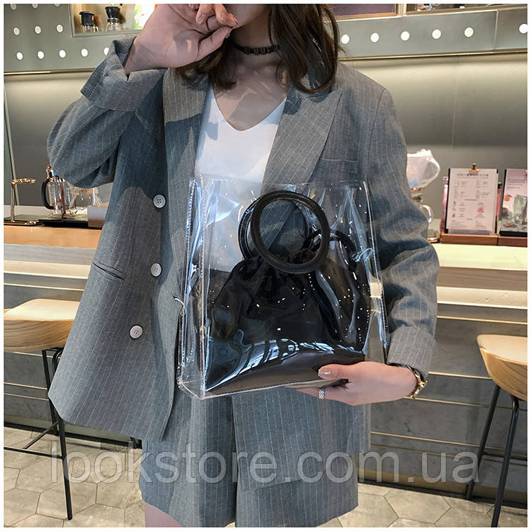 Женская летняя прозрачная сумка Messenger черная