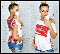 Тельняшка Красная Коко Шанель Полосатая футболка на плечо