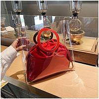 Женская летняя прозрачная сумка Messenger красная