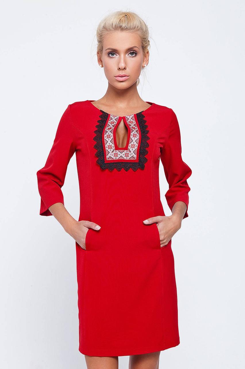 Платтье женское с вышивкой, до колен, красного цвета, С-ка