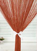 Нитяные шторы с люрексом (Красный с золотым люрексом)
