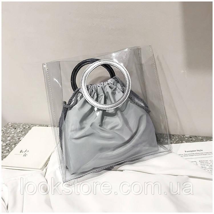 Женская летняя прозрачная сумка Messenger серая