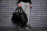 Спортивная сумка феррари, эко-кожа, черная реплика