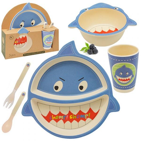 """Посуда детская бамбук """"Акула"""" 5пр/наб (2тарелки, вилка, ложка, стакан)"""
