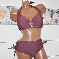 Новинка 2019 года! Раздельный женский купальник, терракотовый на завязках, для пышных женщин, размер 54.