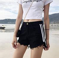 Женские шорты джинсовые черные с лампасами