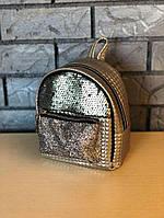 Компактный женский городской рюкзак с паетками/блестками/пайетками, экокожа, фото 1