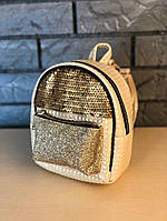 Женский небольшой городской рюкзак кремовый в пайетках/блестках/паетках, пу кожа, фото 1