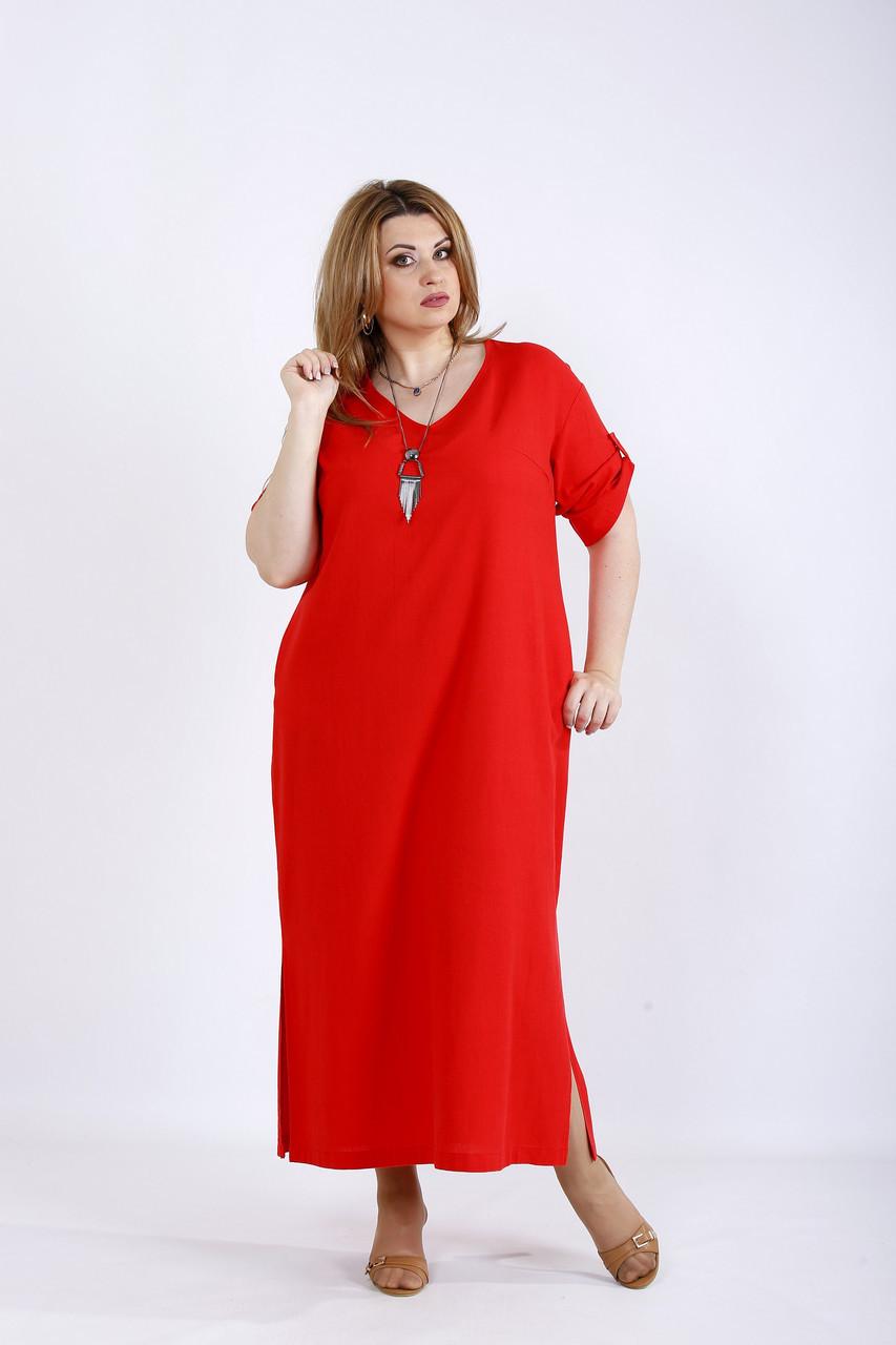 Свободное льняное платье коралл 64 размер