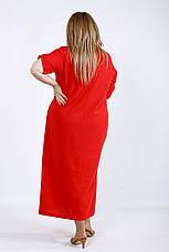Свободное льняное платье коралл 64 размер, фото 3