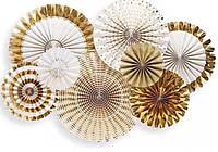 Набор бумажных вееров золото микс 2