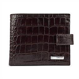 Чоловіче портмоне шкіряний Karya 0450-57 з тисненням кроко коричневий