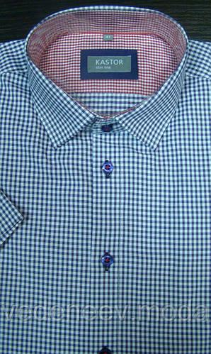 Рубашка мужская в сиреневую клеточку короткий рукав