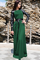 Платьетрикотажное в пол с длинными рукавами из экокожи 46, изумрудный
