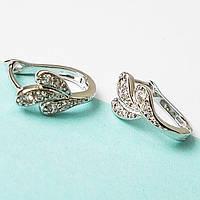 """Серьги """"Листик"""". Ювелирная бижутерия Xuping Jewelry. Родиевое покрытие."""