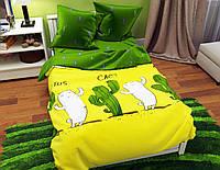 Детское постельное белье полуторное, комплект подростковый Кактус, Бязь голд