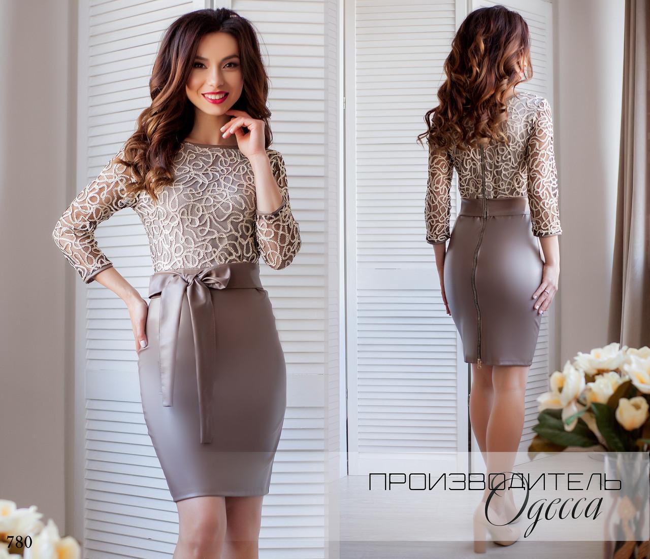 Платье облегающее короткое эко-кожа+сетка 42,44,46