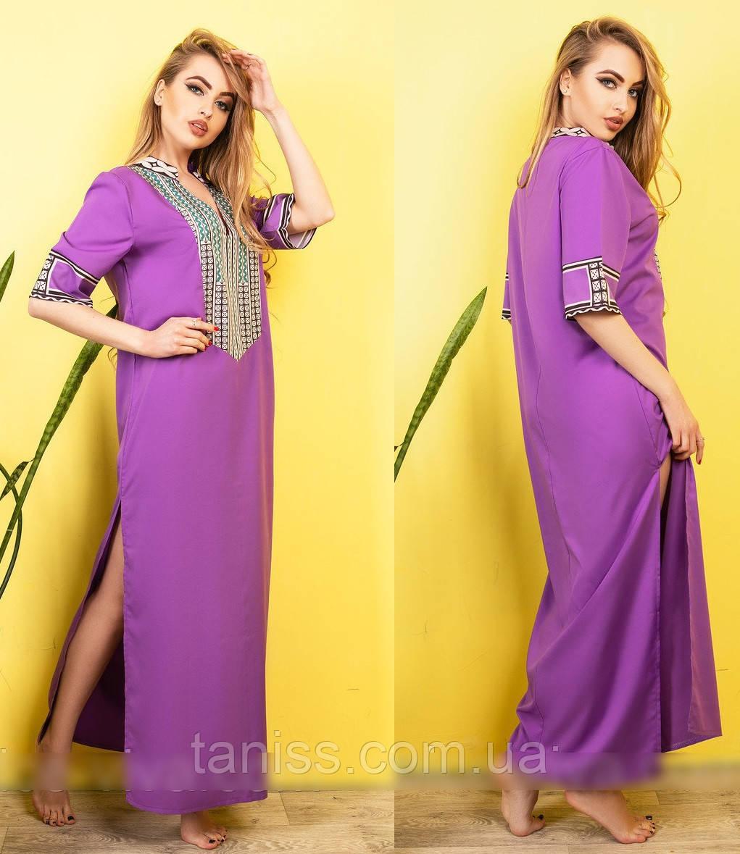 Молодежное легкое летнее платье макси, в пол, шелк, в восточном стиле р.46,48,50,52 фуксия (0026)