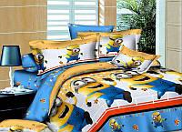 Комплект постельного белья детский полуторный Миньйоны, Бязь голд