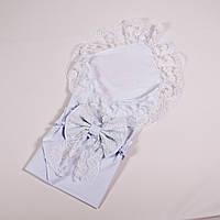 Конверт-пеленка на выписку кружевная с бантом белая BabySoon 78х85см