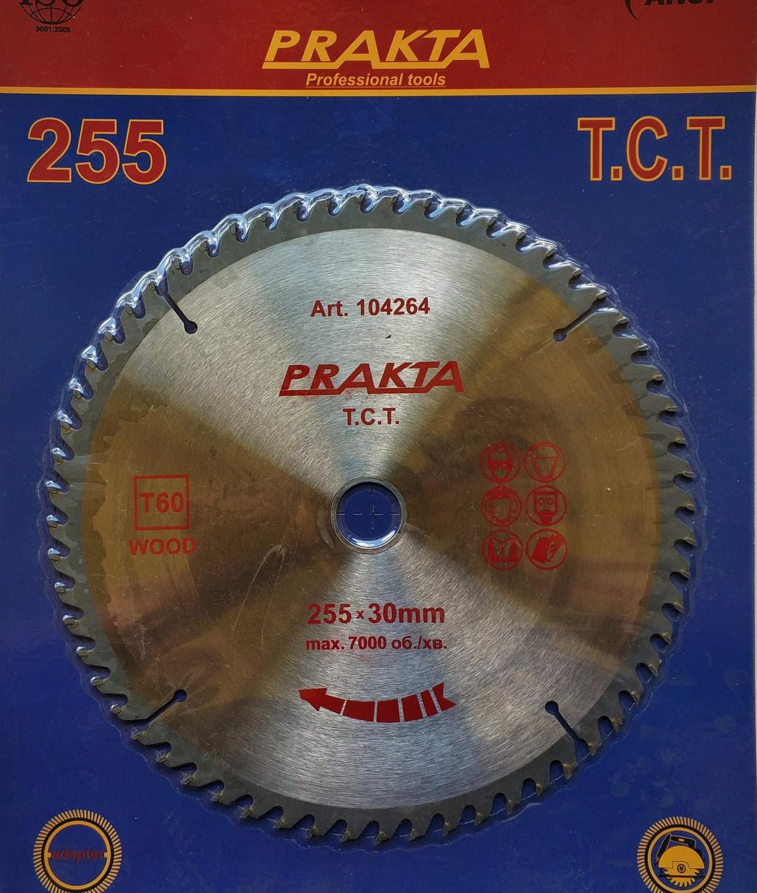 104264 Диск пильний  Prakta   Т.С.Т. для дерева 255*30мм*60Т