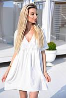 Платье-разлетайка обрезное под грудью , из софта, короткие рукава, v-образный вырез, А-силуэт (42-46)